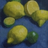 Lemons and Limes on Blue